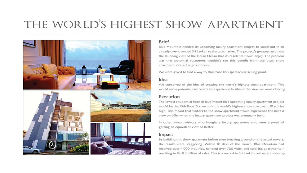 The world's highest show apartment